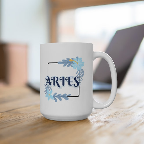 ARIES FLOWER MUG - QUOTE ON BACK SIDE