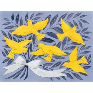 黄色い鳥と葉と枝の束