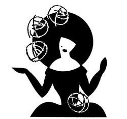 薔薇の花の帽子を被った女性