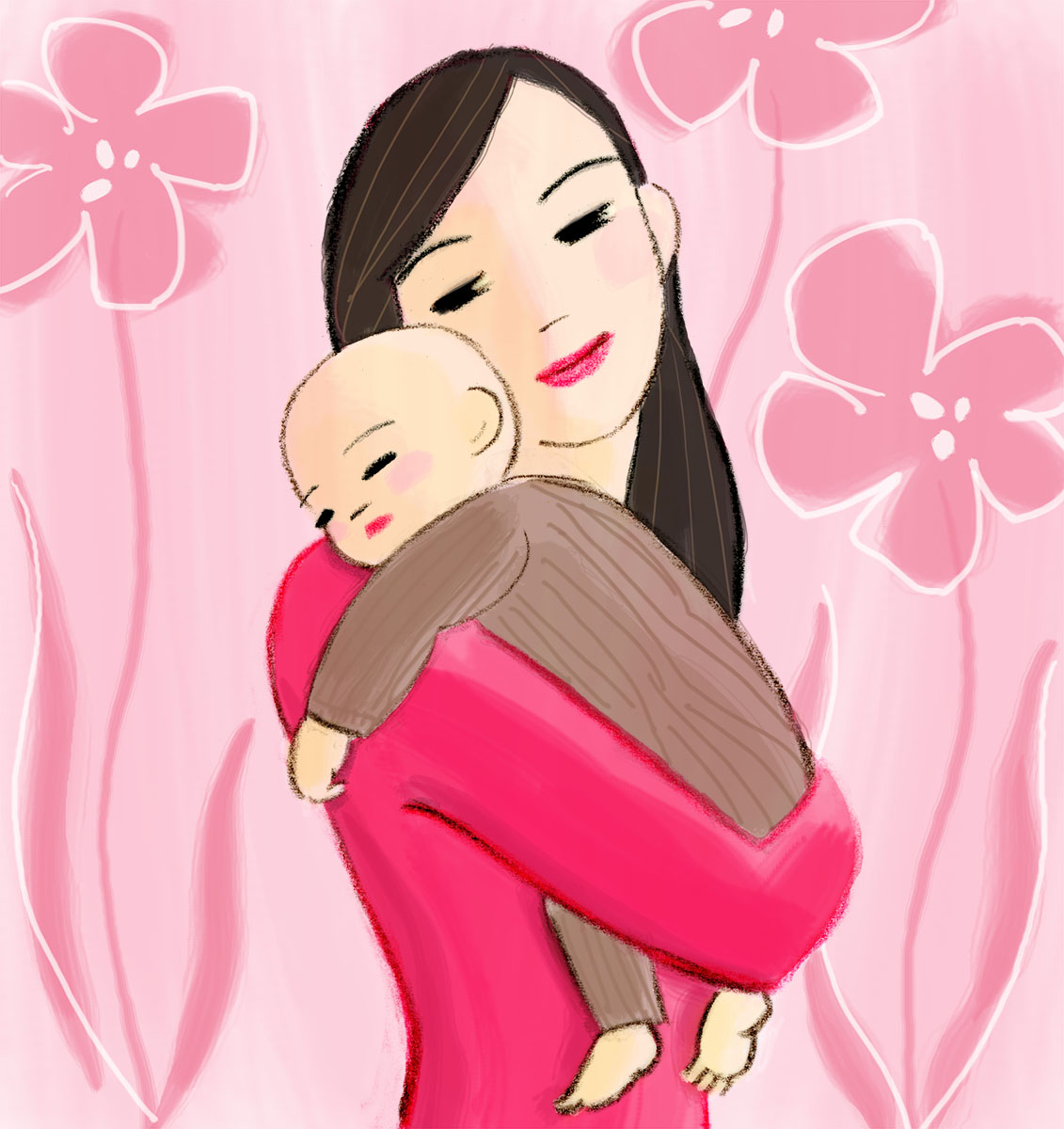 Asian mother and a baby