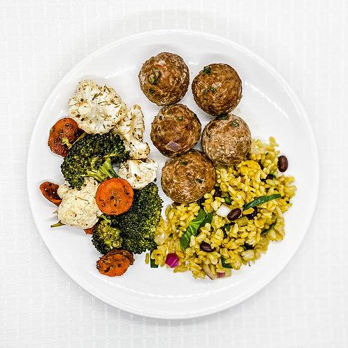 Southwest Turkey Meatballs-Brown Rice w/ Spinach & Black Beans- Vegetable Medley