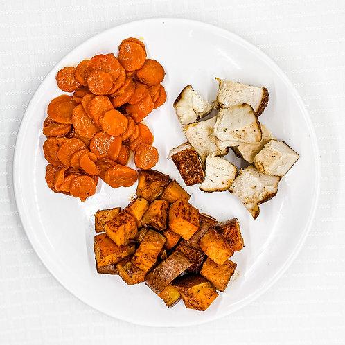 Maple Glazed Chicken- Roasted Sweet Potatoes- Orange Ginger Carrots