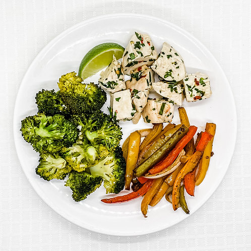 Cilantro Lime Chicken with Pepper Medley & Broccoli with Garlic