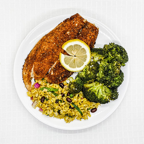 Oven Blackened Tilapia- Brown Rice w/ Spinach & Black Beans- Broccoli w/ Garlic