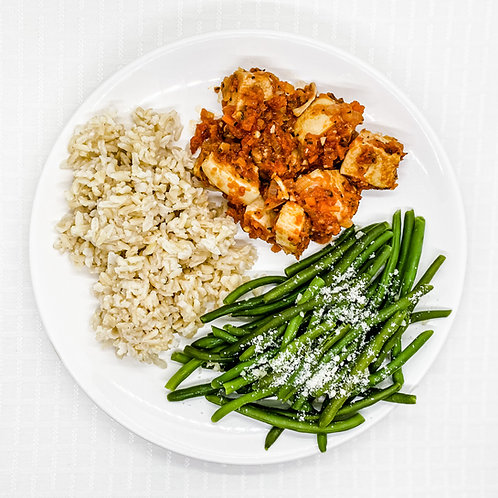 Baked Chicken Marinara- Brown Rice- Garlic Parmesan Green Beans