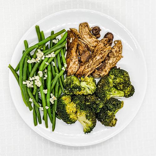 Balsamic Chicken w/ Mushrooms & Thyme- Broccoli w/ Garlic- Lemon Green Beans