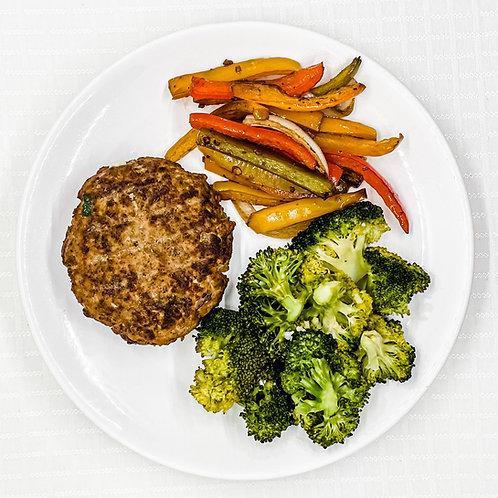 Taco Turkey Burger- Pepper Medley- Broccoli w/ Garlic