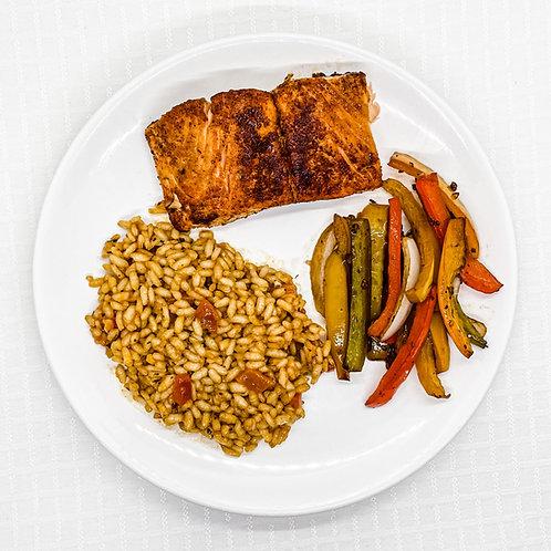 Maple Glazed Salmon- Roasted Pepper Risotto- Pepper Medley