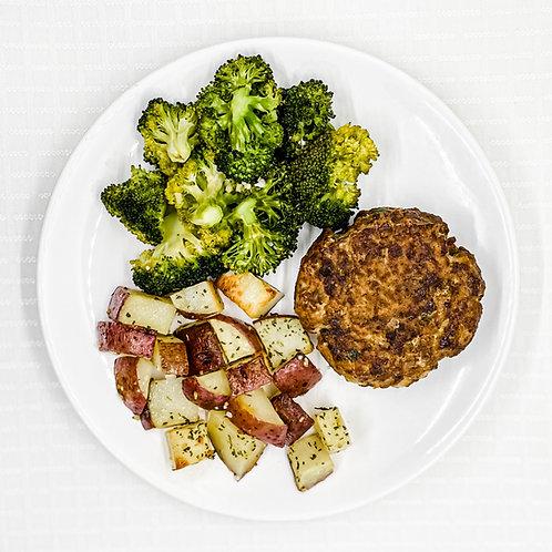 Jalapeno Turkey Burger- Garlic Roasted Red Potatoes- Broccoli w/ Garlic