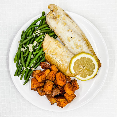 Lemon Garlic Tilapia- Roasted Sweet Potatoes- Lemon Garlic Green Beans
