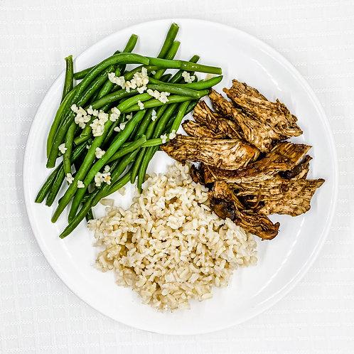 Balsamic Chicken w/ Mushrooms & Thyme- Brown Rice- Lemon Garlic Green Beans