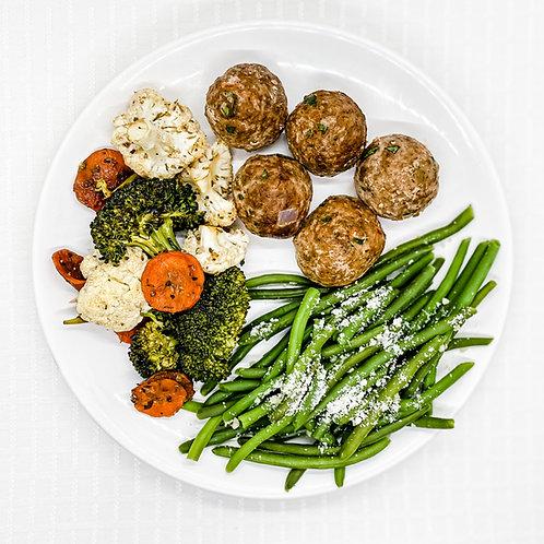 Southwest Turkey Meatballs with Vegetable Medley & Garlic Parmesan Green Beans
