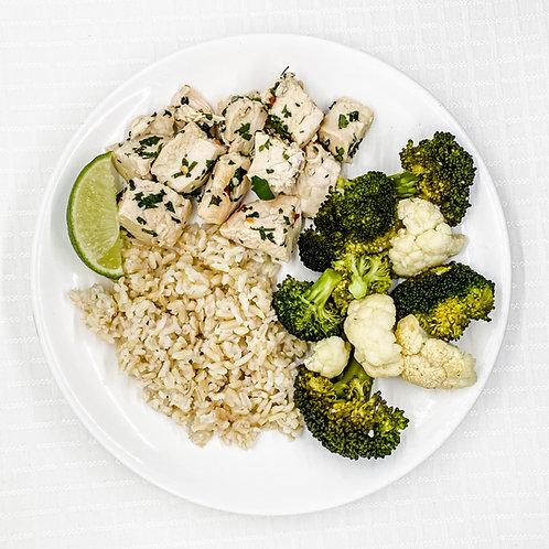Cilantro Lime Chicken- Brown Rice- Cauliflower w/ Broccoli
