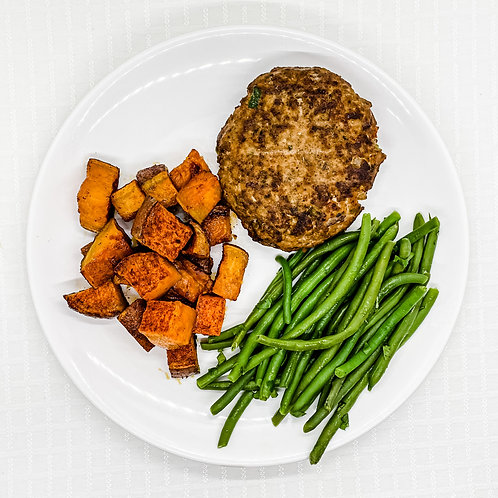 Taco Turkey Burger- Roasted Sweet Potatoes- Cilantro Lime Green Beans