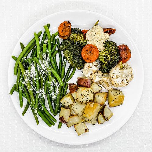 Garlic Roasted Red Potatoes- Vegetable Medley- Garlic Parmesan Green Beans