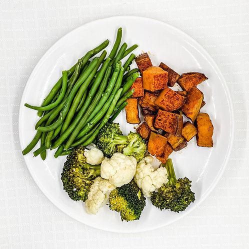 Roasted Sweet Potatoes- Cilantro Lime Green Beans- Cauliflower w/ Broccoli