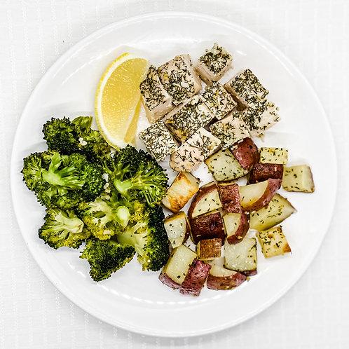 Lemon Garlic Chicken- Garlic Roasted Red Potatoes- Broccoli with Garlic
