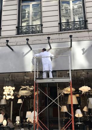 Faux-marbre en fronton - Boutique luminaires