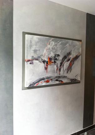 Entrée d'immeuble Lyon - effet texturé et oeuvre originale