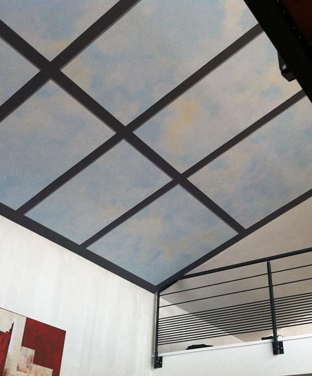 Trompe-l'oeil plafond paysagé 001