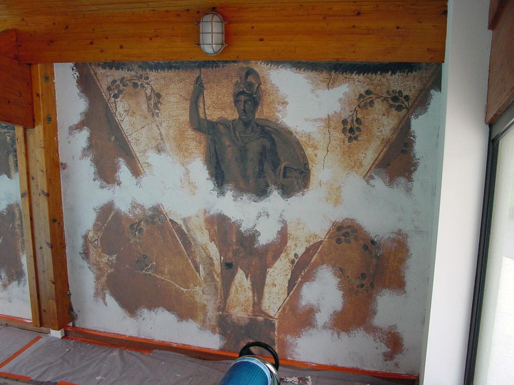 Fresque décor pompéïen - Vue travaux