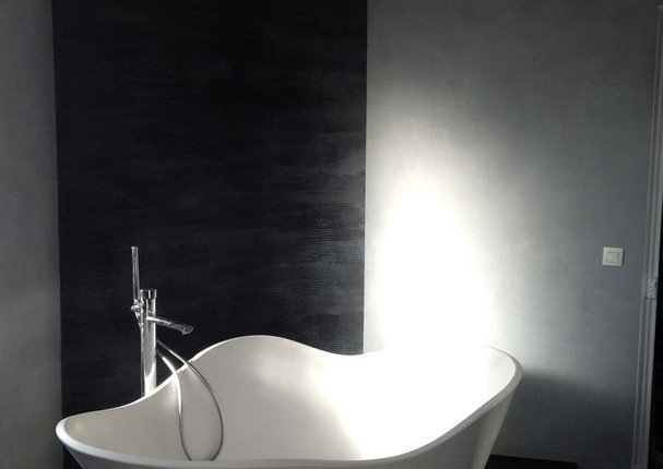 Salle de bain béton ciré - Vue baignoire 002
