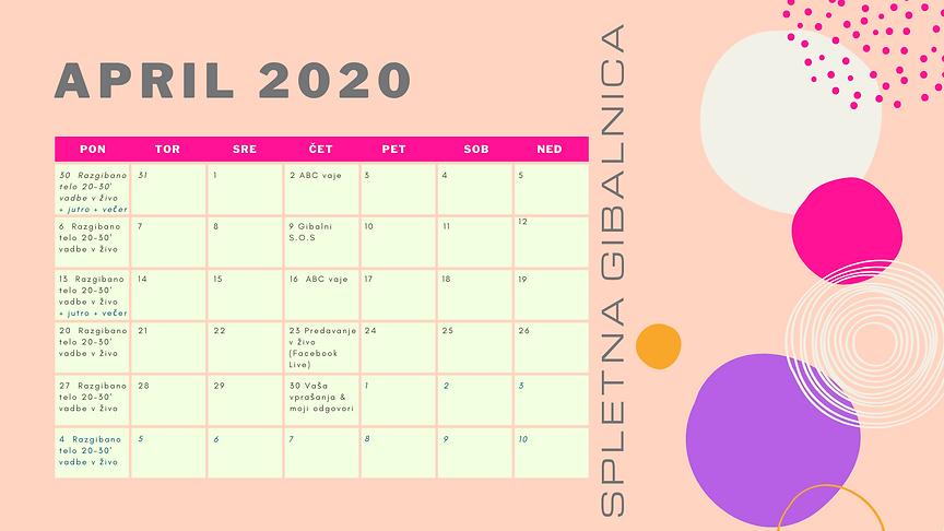 spletna gibalnica koledar april - primer