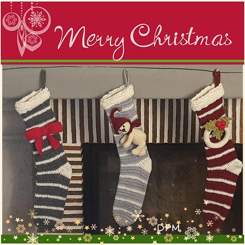 Chaussettes de Noël (Ourson, noeud, couronne)