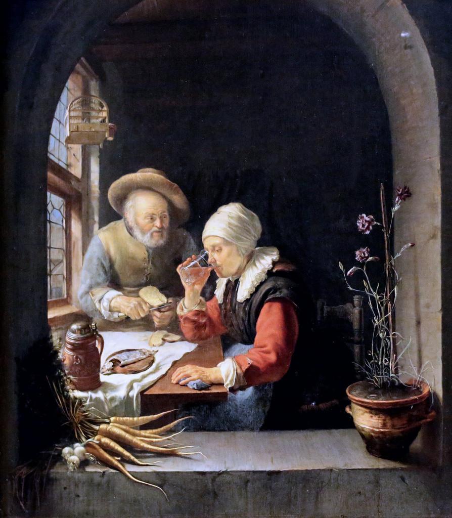 """""""Casal de anciãos na Távola"""", Frans van Mieris, O velho"""