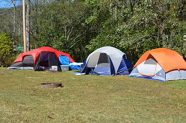 Hitching Post Campground, Lake Lure, North Carolina, tent camping, fire ring, water, electric, trees, grass sites