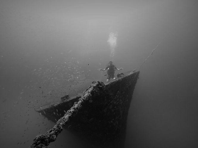 Plongée sur l'épave du Kled Gaeow, Koh Phi Phi, Thaïlande