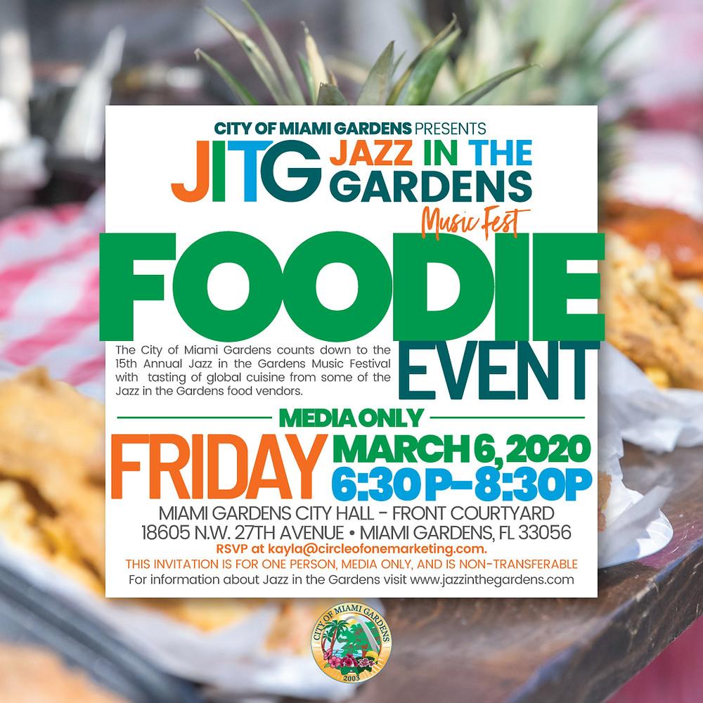 jazz in the gardens, foodie event, miami gardens, miami gardens city hall