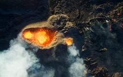 Cratère volcanique, drone reunion