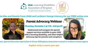 Parent Advocacy Webinar Handouts and Recording  Available - Nov. 5, 2020