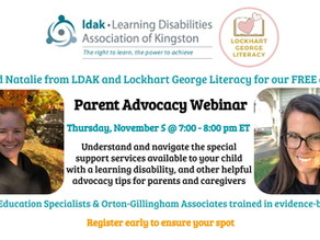 Parent Advocacy Webinar Handouts and Recording  Available - Nov. 5, 2020