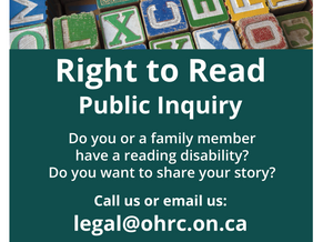 Right to Read Inquiry Announced - Ontario Human Rights Commission