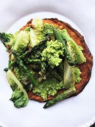 Braised Little Gem, Asparagus & Peas