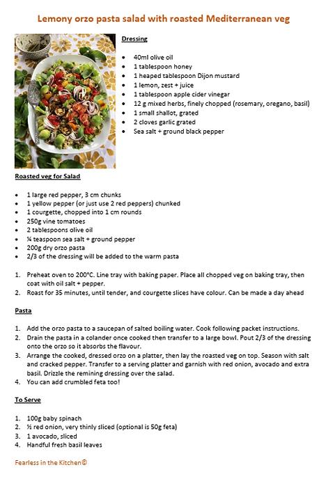 Lemony orzo pasta salad with roasted Mediterranean veg