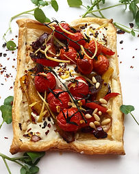 Balsamic Tomato Peppers Tart with Pine Nut Pesto