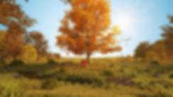 3d illustration dodenhof herbstbaum