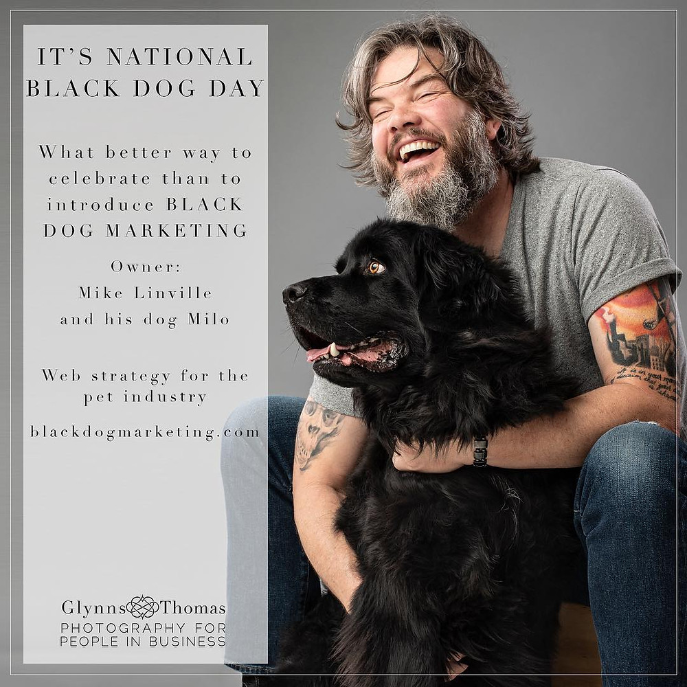 business owner headshot with his dog