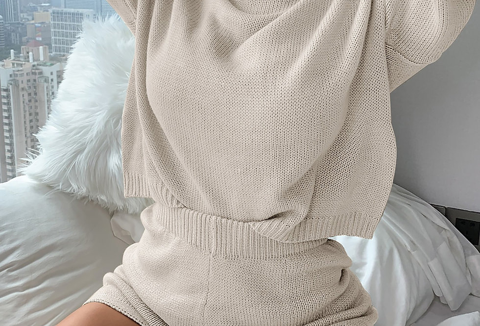 Ribbed Loose Sweater Shorts Set