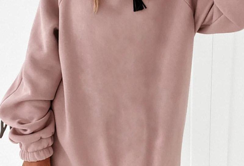 Ruched Long Sleeve Sweatshirt Dress