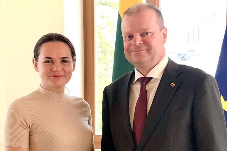 Swetlana Tichanowskaja mit Saulius Skvernelis