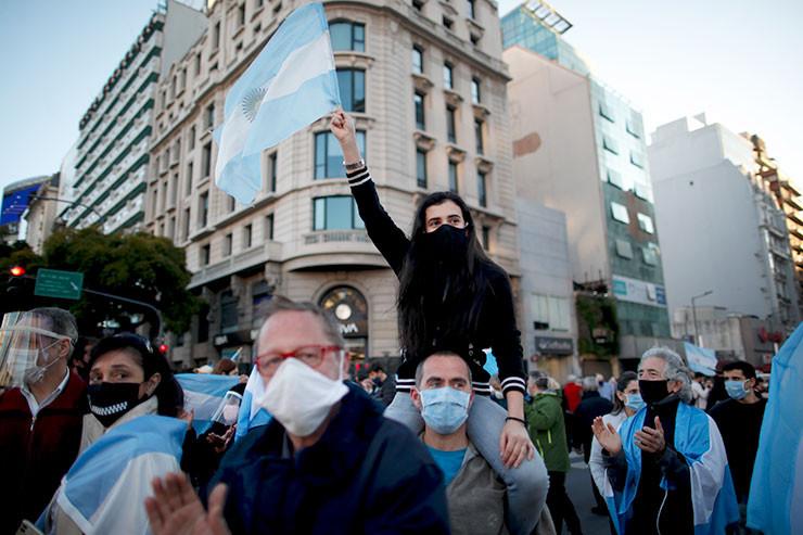 Demo im Zentrum von Buenos Aires