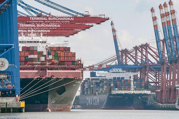 Containerschiffe im Hambuger Hafen