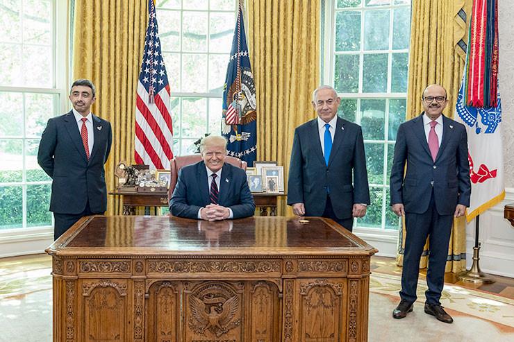 Der Deal steht: US-Präsident Trump, Israels Premier Netanjahu und die Außenminister der VAE (l.) und Bahrain (r.)