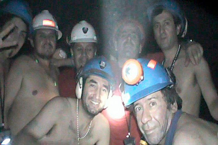 Die verschütteten Bergleute vor der Rettung