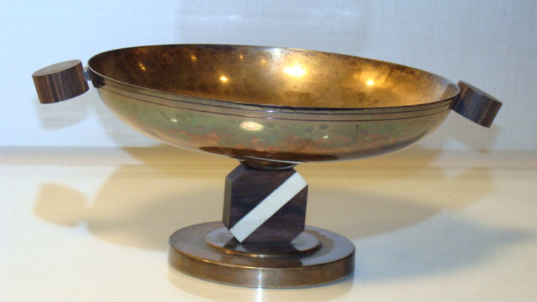 Rosewood silverplate & lvory dish