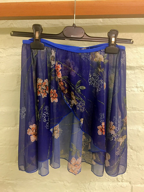Adult Blue Chiffon Skirt with Flowers